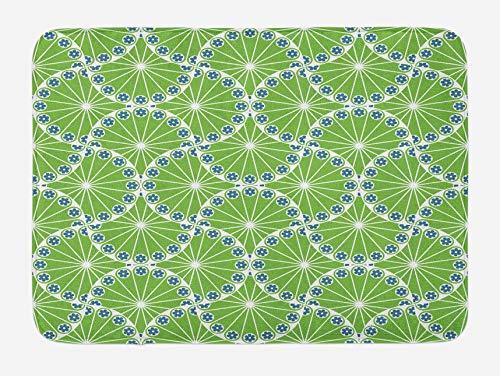 Tapis de bain vert pomme, lignes courbes abstraites avec composition de fleurs de croissance de la nature, tapis de décoration de salle de bain en peluche avec support antidérapant, vert pomme bleu bl