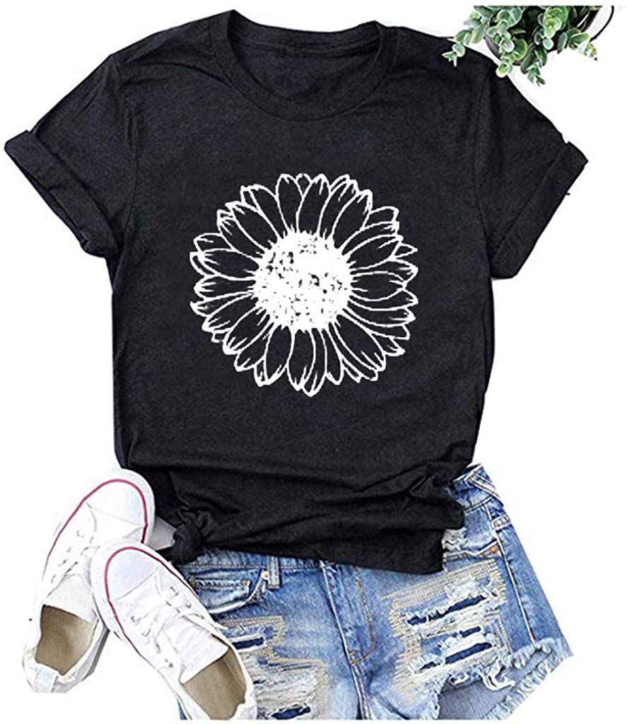 FABIURT Cute Summer Tops for Women,Women Casual Short Sleeve Loose Fit Cute Floral Printed Tees Shirts Blouses Tunics