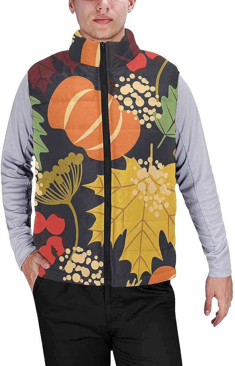 InterestPrint Men's Winter Full-Zip Outwear Padded Vest Coats Thanksgiving Turkey Leave
