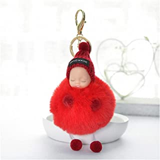 Womens Mens Super Cute Sleeping Baby Doll Keychain Key Rings Faux Fur Pompom Key Chain Holders Women Bag Pendant Charm Jewelry Red