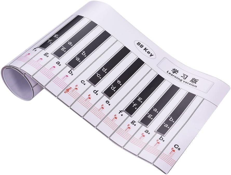 ammoon Versión de Digitación 88 Llaves Piano Teclado Práctica de Digitación con Notas y Bastón de Referenciapara Bebinners Estudiantes Niños ...