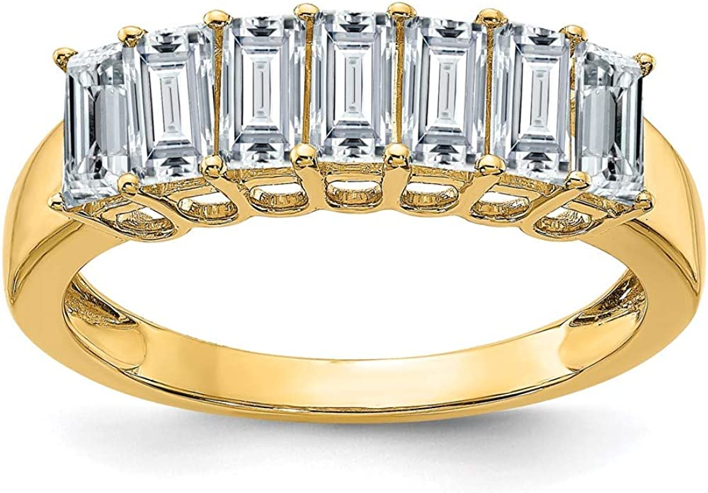 14k Yellow Gold 7 Stone 5 X 2.5mm Baguette Colorless Moissanite Wedding Ring Band Sz5 Fine Jewelry For Women Gifts For Her