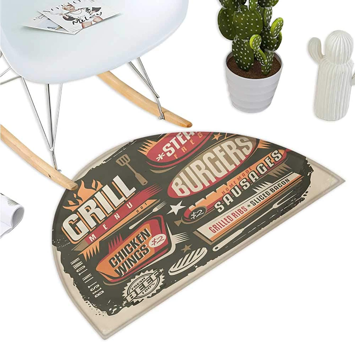 BBQ Party Semicircular Cushion Grill Menu Design with Steaks Burgers Wings Sausages Ribs and Bacon Retro Effect Entry Door Mat H 47.2  xD 70.8  Multicolor