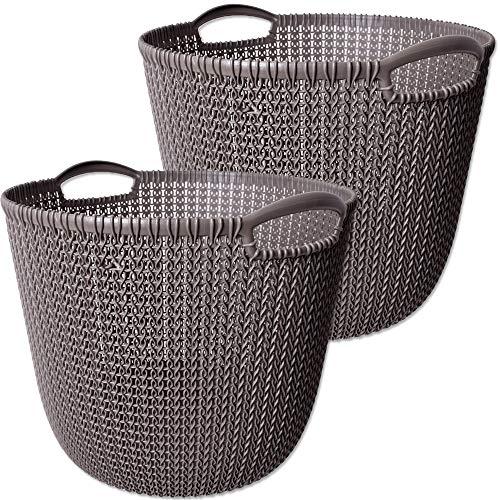 CURVER 2 Stück Knit Collection L Wäschekorb Kunststoff Badezimmer Aufbewahrung Korb Regalkorb Behälter Rund 30L Grau Braun