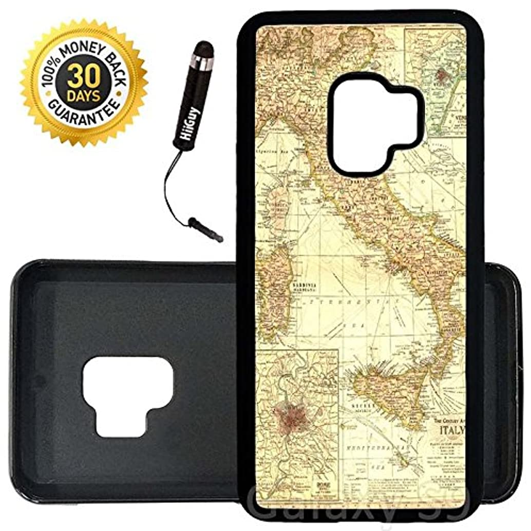 Custom Galaxy S9 Case (Vintage Map of Italy) Edge-to-Edge Rubber Black Cover Ultra Slim | Lightweight | Includes Stylus Pen by Innosub
