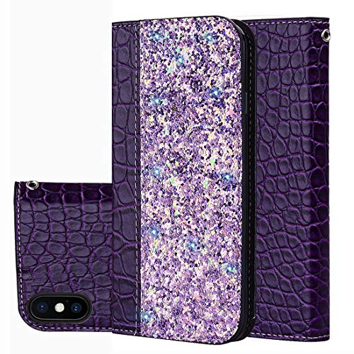 KIOKIOIPO-N Mode Krokodil Textur Glitter Puder Horizontal Flip Ledertasche for iPhone X/XS, mit...