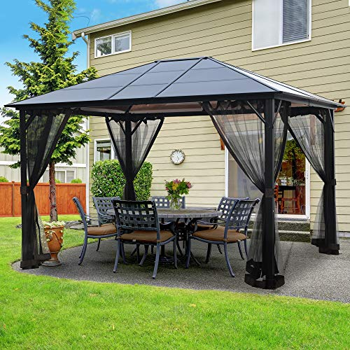 AsterOutdoor 10x12 Outdoor Hardtop Gazebo for Patios Metal Aluminum Frame Polycarbonate Top Canopy with Mosquito Netting for Lawn, Backyard and Deck 99% UV Rays Block, Black