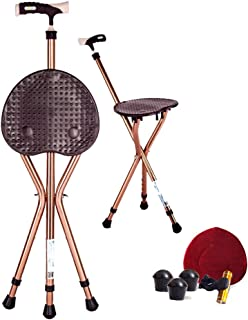 Folding Cane Seat 441 lbs Capacity Thick Aluminum Alloy Cane Stool Crutch Chair Seat 3 Legs Cane Seats Highly Adjustable Walking Stick Tall Unisex for Elderly Brown