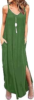 Odosalii Damen Maxikleider V-Ausschnitt Sommerkleid Ärmellos Strandkleid Lange Taschen Kleid mit Schlitz