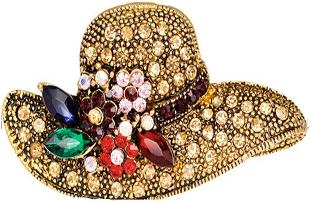 SOURBAN Straw Hat Brooch Rhinestone Flower Lapel Pin Crystal Leaves Dress Brooch Pin Vintage Cap Shape Brooch