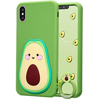 """Coralogo for iPhone Xs Max Case,3D Cute Cartoon Funny Food Fruit, Soft Silicone Character Shockproof Kawaii Fashion Fun Cool Designer Skin Cover Cases for Girls Teens Kids iPhone Xs Max 6.5"""" (Avocado)"""