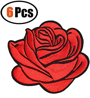 6 Pack Flower Patches, Iron On Rose Patches, Sew On Applique Patch, Custom Backpack Patches for Women, Girls, Kids (Red)