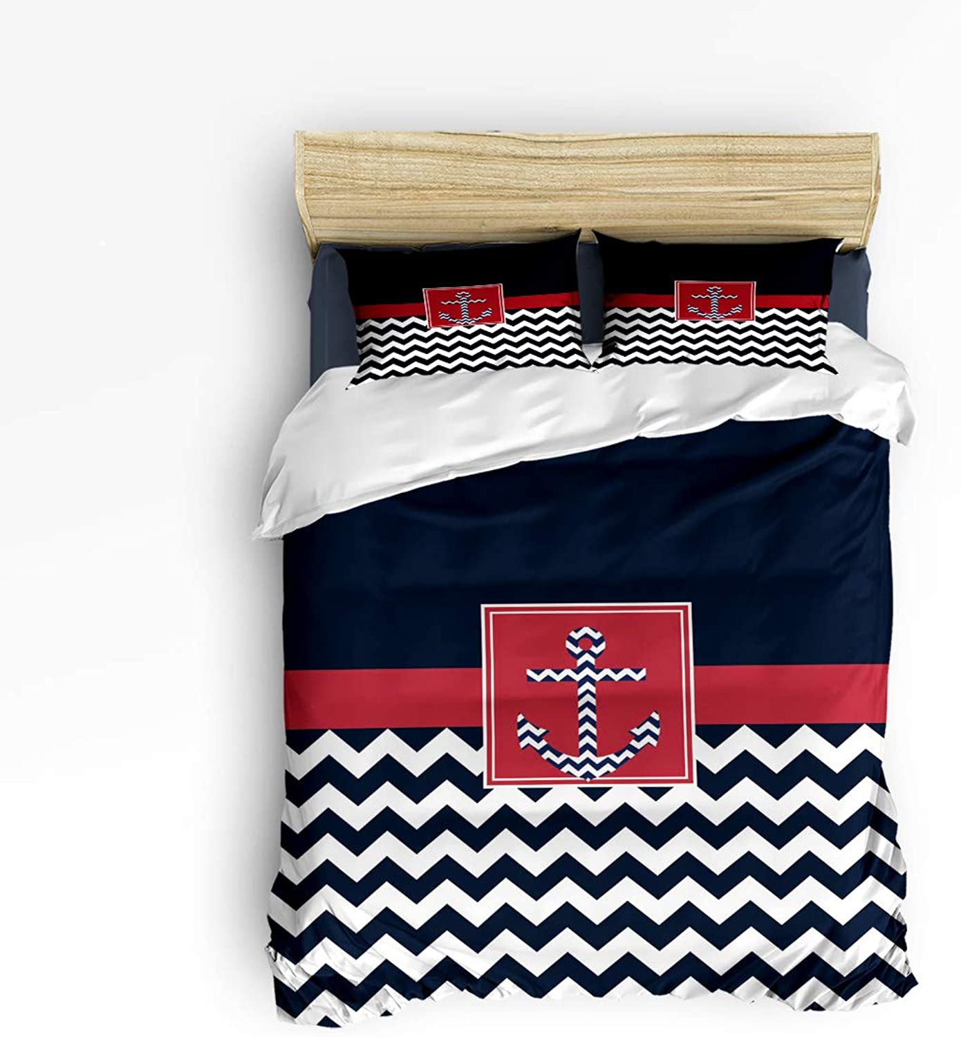 Fandim Fly Bedding Set Twin Size, Black Red and White Chevron with Nautical Anchor Pattern,Comforter Cover Sets for All Season