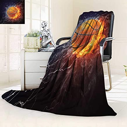 YOYI-HOME Soft Warm Cozy Throw Duplex Printed Blanket Sports Basketball Ball on Fire and Water Flame Splashing Thunder Lightning Image Navy Blue O Fuzzy Blankets for Bed or Couch/39.5