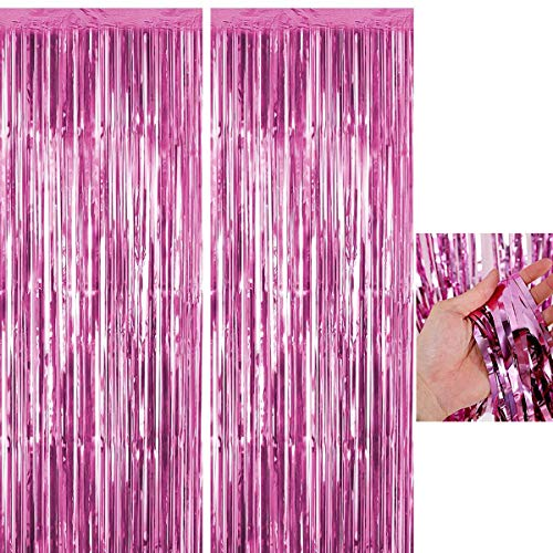 BOYATONG Metallic Tinsel Vorhänge,2 Stück Folie Fringe Shimmer Vorhang,Quaste Folie Vorhang Metallic,Folie Fransen Vorhänge Tür,Lametta Vorhang dekorative (Pink)