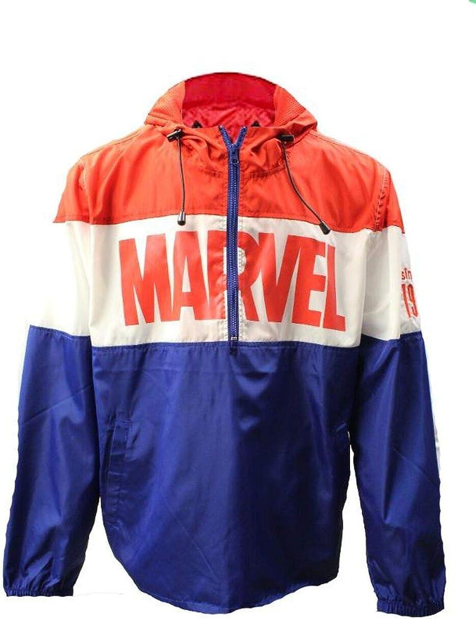 Marvel Windbreaker 1939 Lightweight Jacket Hood Hoodie Retro Vintage Mens Adult