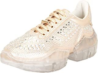 Cambridge Select Women's Retro 90s Ugly Dad Crystal Rhinestone Chunky Clear Platform Fashion Sneaker