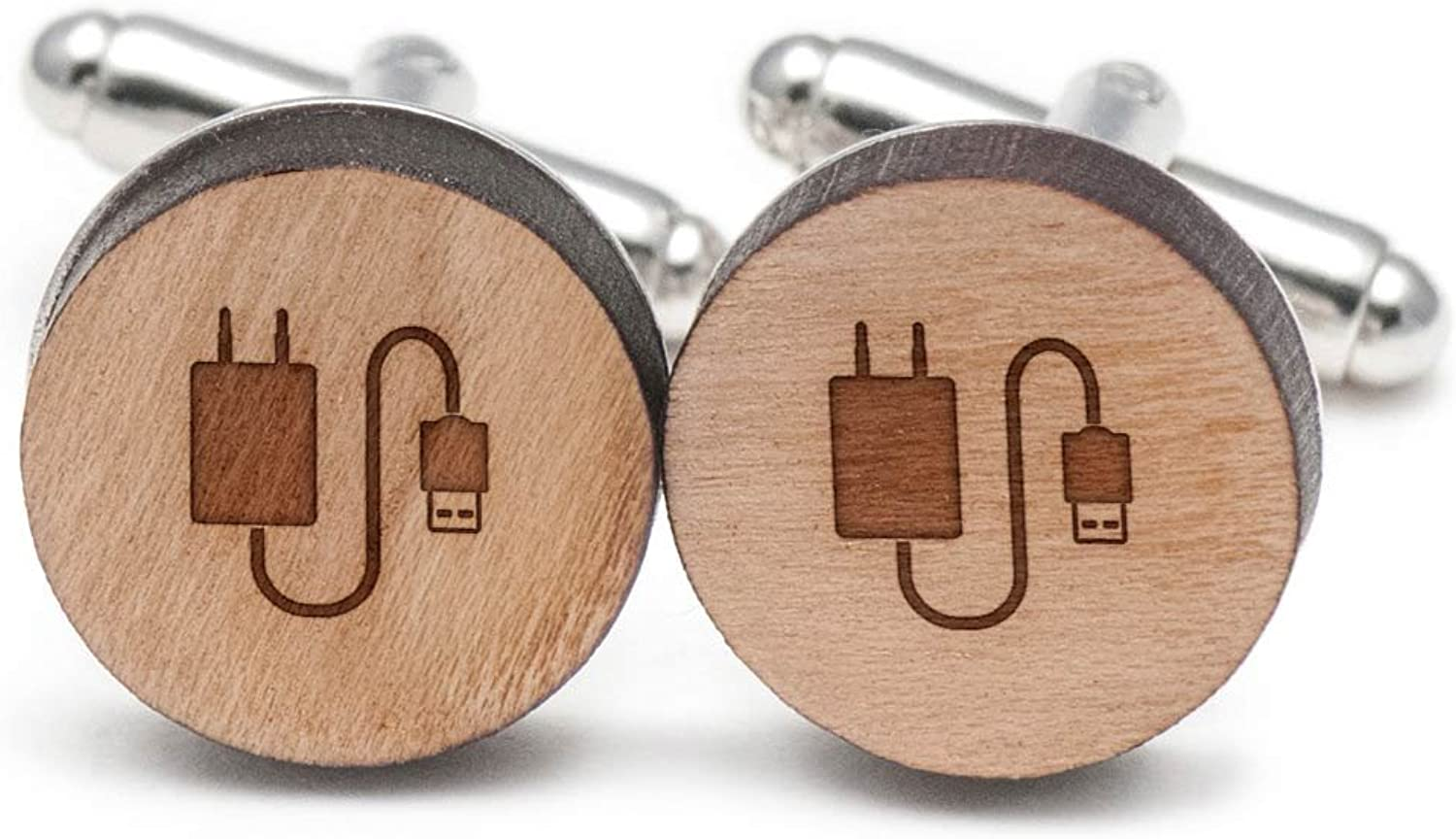 Charger Cufflinks, Wood Cufflinks Hand Made in the USA