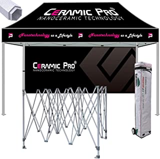 Eurmax Premium 10x15 Ez Pop up Printed Canopy, Trade Show Custom Tent, Event Canopy with Printed Backwall Bonus Roller Bag