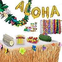 ルアウパーティーデコレーションとサプライ コンプリートメガパック - 175アイテム - ハワイアン誕生日アロハサマービーチ トロピカルテーマデコレーションセット Illusive Supplies製。