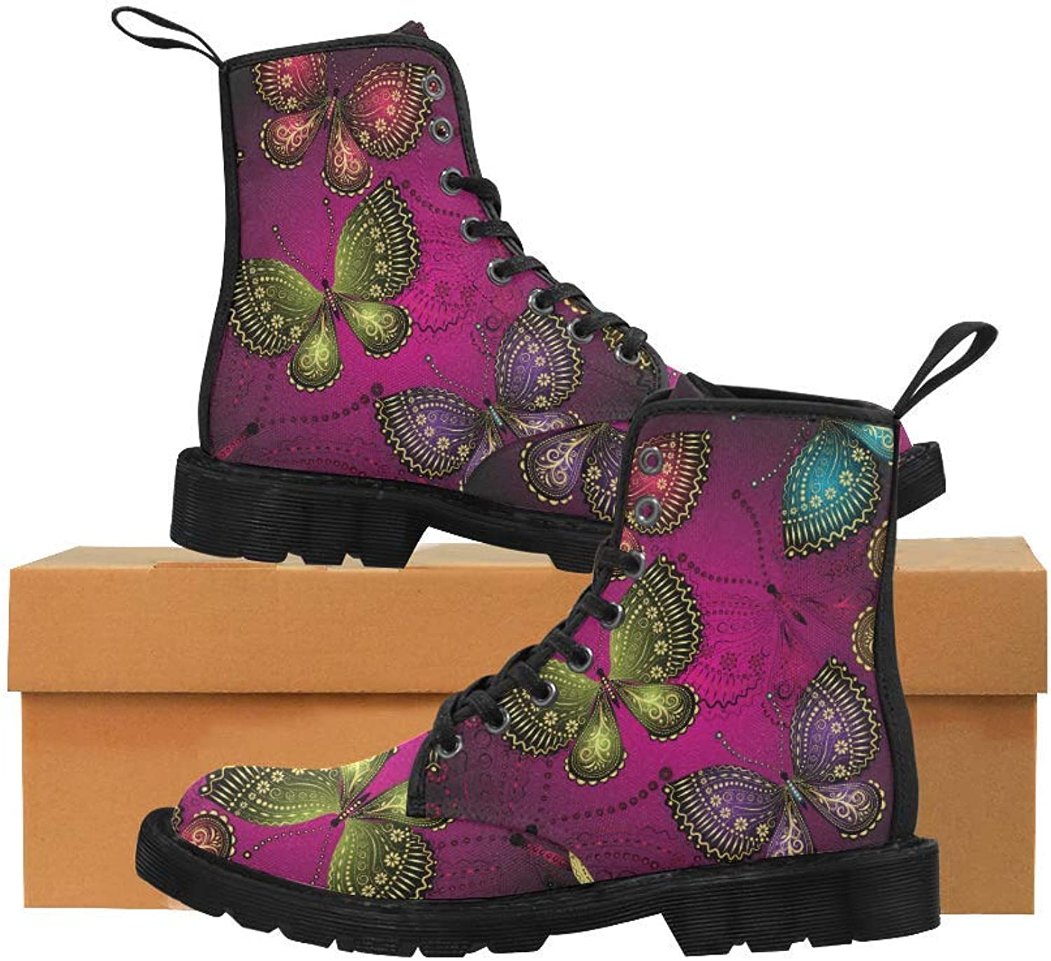 InterestPrint Unique Martin Boots Lace Up Canvas Combat for Women Girl