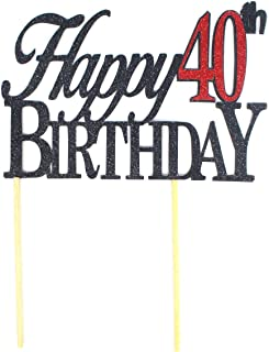 All About Details Happy Topper,1pc, 40th Birthday, Cake, Party Decor (Black & Red), 6 x 8, Black/Red