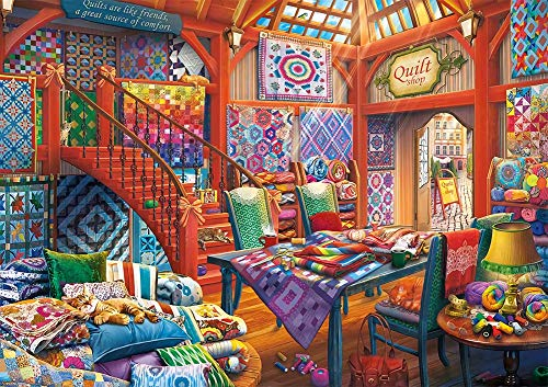 MOMPLUS Quilt Shop Cat Jigsaw Puzzle for Adults Kids 1000 Piece, Intellective Learning Educational Decompression Game Leisure Time DIY Toys Puzzles for Home Decoration