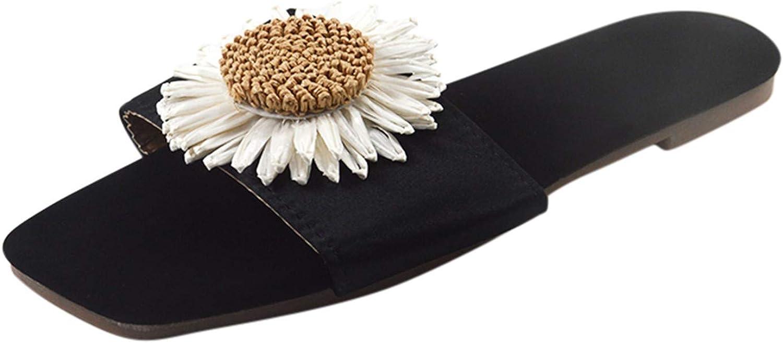 Womens Open Toe Flat Sandals Sunflower Pattern Slip On Home Shoes Summer Beach Slippers Slides