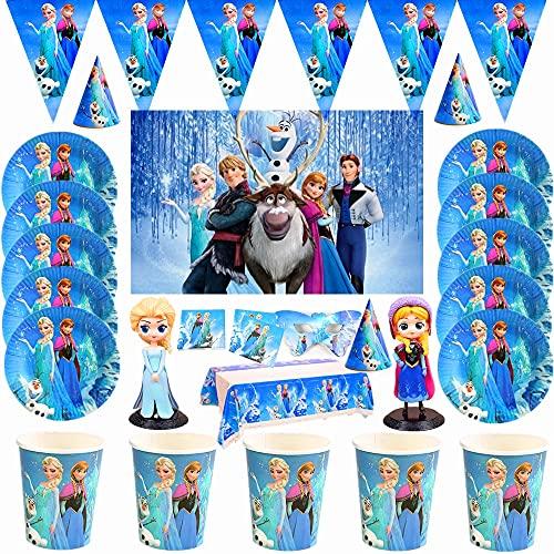 Disney Anna y Elsa Princesa Diseño Taza desechable de Papel Vajilla Placa Baby Shower Fuentes de cumpleaños Decoración de Fiesta