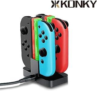 J-KONKY Nintendo Switch Joy-Con充電スタンド 指示ランプ 挿すだけ ジョイコンjoy-con充電スタンド 4台同時に充電グリップ LEDインジケータ USBケーブル付きニンテンドースイッチ ジョイコン スウィッチ 充電ホルダー チャージャー 充電指示LED付き