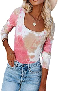 HEFASDM Womens Fashion Square Collar Long Sleeve Blouse Tie Dye Slim Fitted Tees