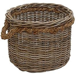 korb.outlet Grande corbeille à bois ronde en rotin gris naturel avec bordure en corde / cache-pot en rotin (XL Ø 50 cm)