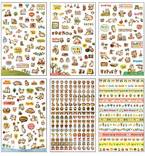 Nvfshreu stickers dagboek zelfklevende sticker decoratief plakband notitieboek muur keramische tegel glas eenvoudige stijl cadeau auto galerij DIY raamafbeeldingen raamfolie 6 (karikatuur)
