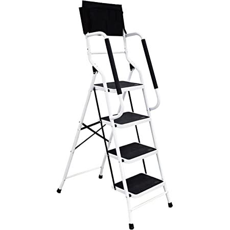 4 Step Ladder Step Stool 500 lb Capacity Folding Portable Ladder Steel Frame with Safety Side Handrails Non-Slip Wide Pedal Kitchen and Home Stepladder with Attachable Tool Bag