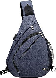Clenp Bolsa de pecho para hombre, de moda, casual, antirrobo, puerto USB, bolsa de hombro, bolsa de hombro, para senderism...