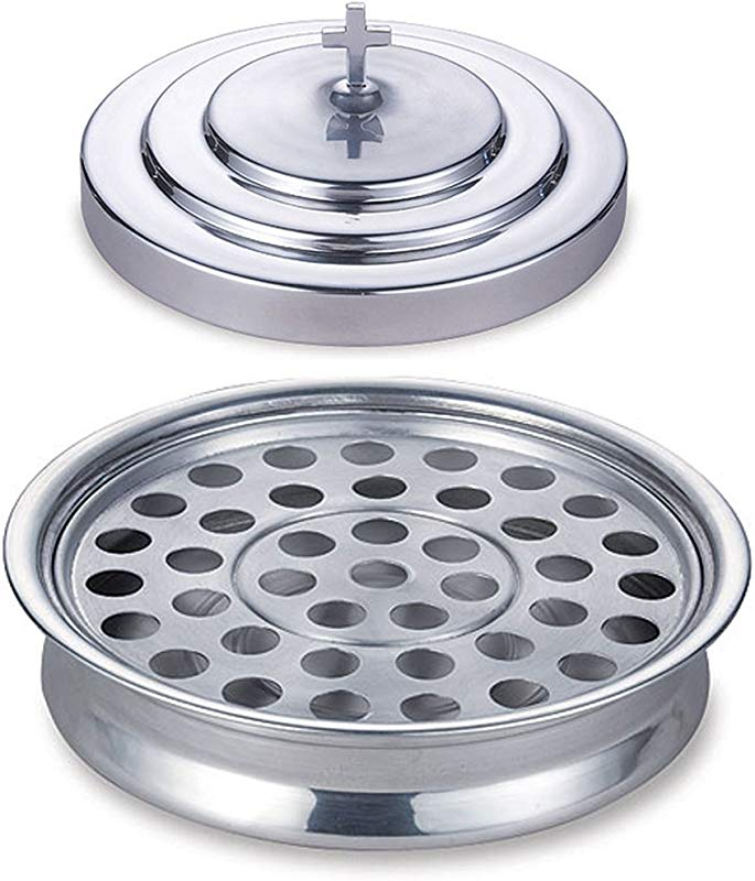 Stackable 12 1 4 Communion Tray Cover And 40 Hole Insert For Cups Silver Tone Aluminum