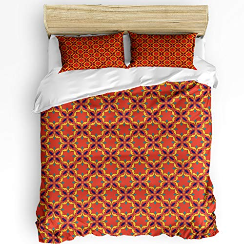 Fandim Fly Comforter Cover Bedding Set 68 x 86 Inch Geometric Pattern Vintage Warm Tones Continuity Floral Print Duvet Cover Set Twin Size with Zipper Closure for All Seasons