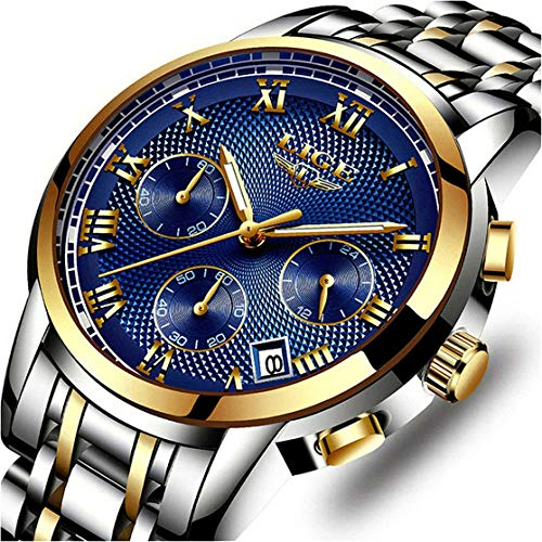 Relojes, Relojes de Hombre, Reloj de Cuarzo analógico de Negocios único para Hombres Cronógrafo de Acero Inoxidable Resistente al Agua