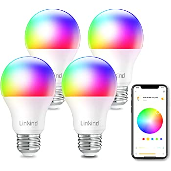 Linkind Smart WiFi Light Bulb, A19 E26 RGBW LED Bulb, Dimmable Multicolor/Tunable White(Warm to Daylight), Work with Alexa, Google Home, No Hub Required, 9W (60W Equivalent), Pack of 4