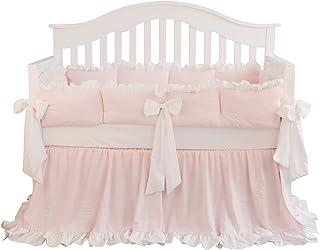 Blush Coral Pink Ruffle Crib Bedding Set Baby Girl Bedding Blanket Nursery Crib Skirt Set Baby Girl Crib Bedding Sheet (LT Coral, 3 Pieces Set)