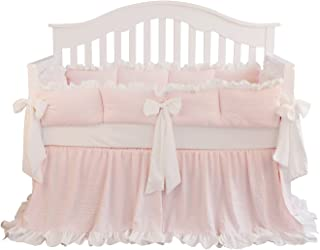 Blush Coral Pink Ruffle Crib Bedding Set Baby Girl Bedding Blanket Nursery Crib Skirt Set Baby Girl Crib Bedding Sheet (LT Coral, 3 Pieces Set)