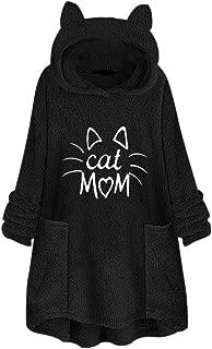 Crazyfashion Women Fleece Sweater Embroidery Cat Ear Plus Size Hoodie Pocket Top