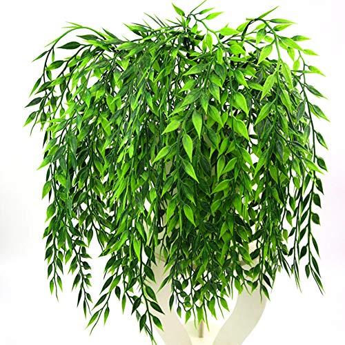 Ironhorse Rama de mimbre artificial de mimbre artificial de sauce llorón de plástico verde, planta de hojas de sauce y mimbre para colgar en la pared o en el techo.