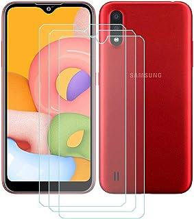 TTJ 3 stycken skottsäkert glas skyddsfolie för Samsung Galaxy M01S, 9H hårdhet härdat glas pansarglasfilm anti-rep/anti-fi...