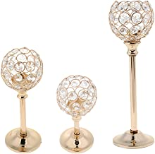 Homyl 3 Height Golden Crystal Wedding Party Lamp Tealight Stand Candle Holder