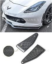 for 2014-2019 Chevrolet Corvette C7 | EOS Factory OEM Style Carbon Fiber Front Bumper Lower Splitter Side End Caps Extension Pair