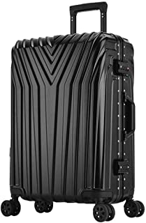 SMLCTY Lightweight 20 Inch / 24 Inchcarry On Luggage,360° Rotating Universal Wheel Customs Password Lock ABS+PC Large Capacity Waterproof Outdoor Travel Boarding (Color : Black, Size : 20 inch)