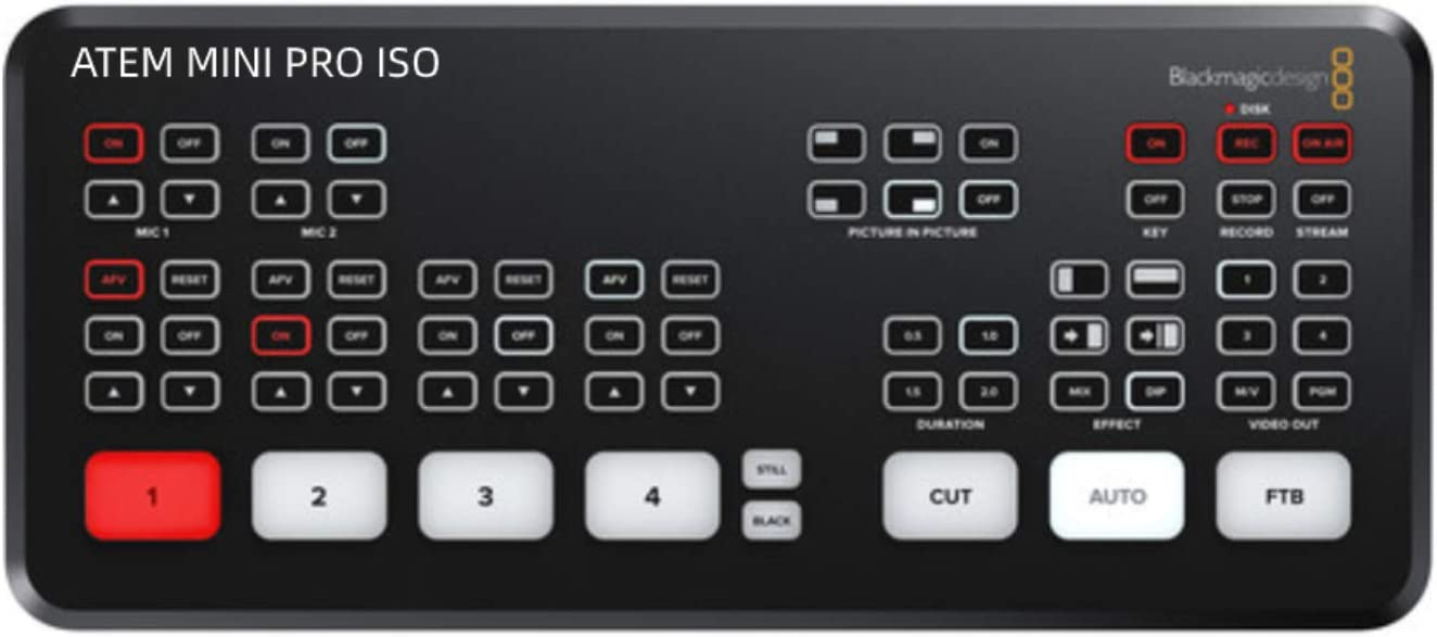 LookingSky Blackmagic ATEM Mini Pro ISO Live Switcher Full Support and Control Features For BMPCC 6K and 4K Cameras Simultaneous USB Recording ATEM Mini Pro ISO