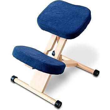 RiZKiZ バランスチェア 姿勢良く学習 【ネイビー】 木製 学習椅子 高さ調整 キャスター付 子供から大人まで