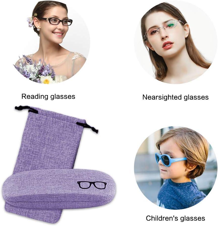 Contact Lens Case 4 pcs Eyeglass Cleaning Cloth Cute Glasses Case Linen Retro Eyeglass Case for Women Ladies Girls Boys Men with Glasses Pouch Case SwirlColor Hard Glasses Case Set